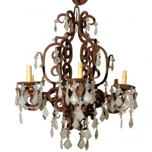 6 Light Wrought Iron Rock Crystal Chandelier