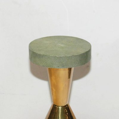 Pair of Brass and Shagreen Round Side Table