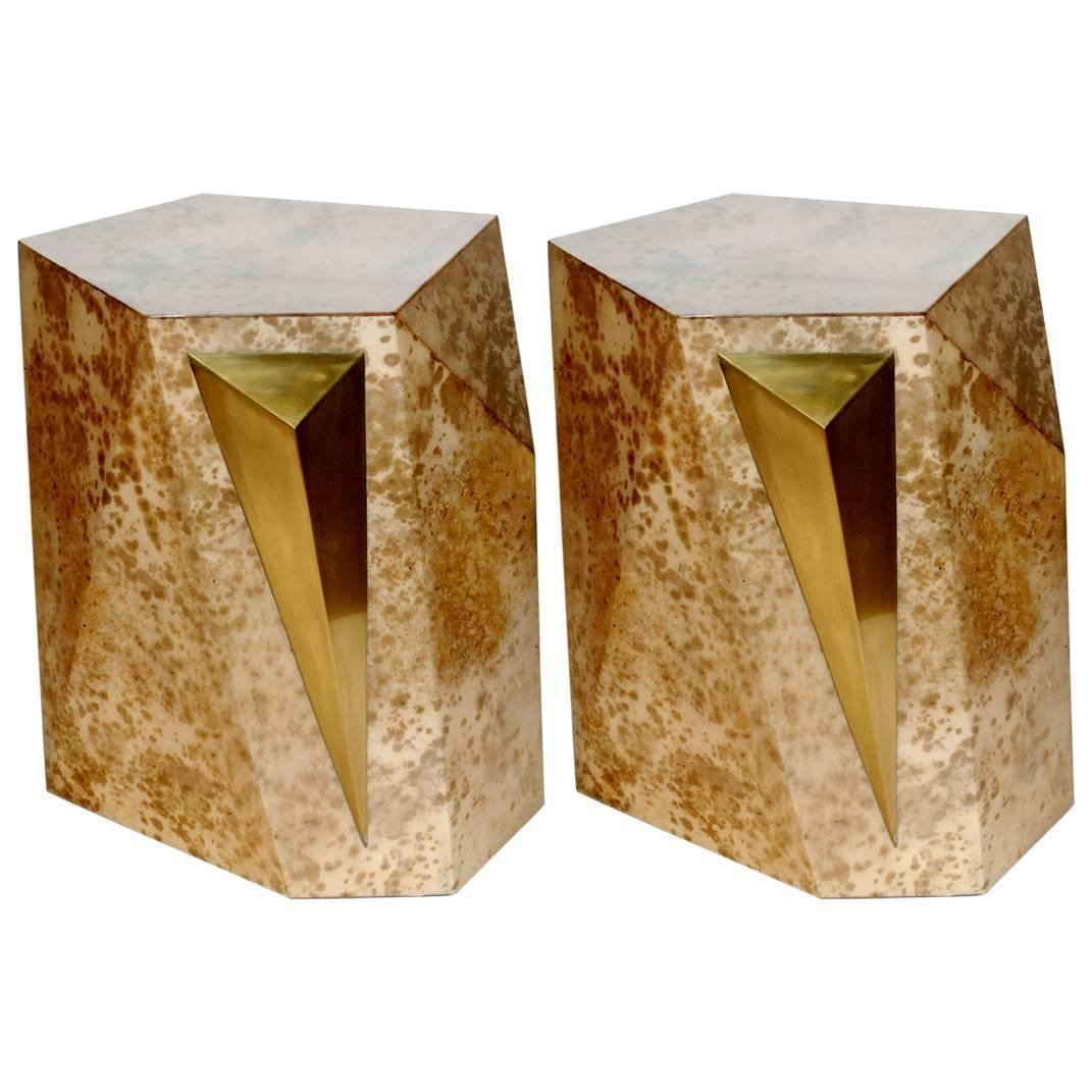 Pair of Parchment and Brass Rock Side Tables