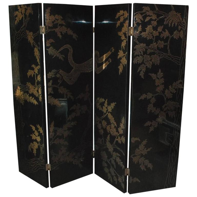 Adnet Style Brass Inlay Screen at Little Paris Antiques