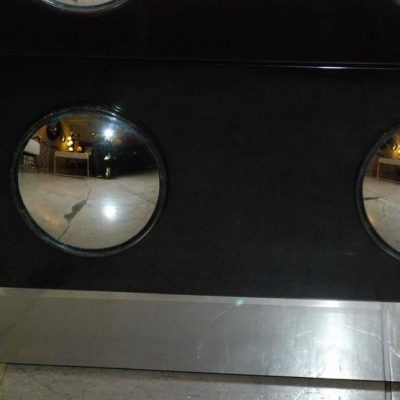 Pair of Parchment and Convex Mirror Chest of Drawers at Little Paris Antiques