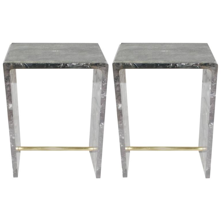 Pair of Shagreen Side Tables at Little Paris Antiques