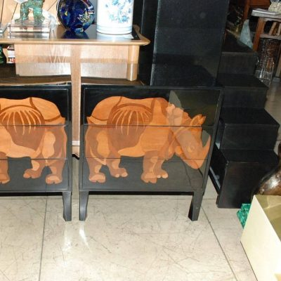 Pair-of-Lacquered-and-Wood-Inlay-Rhino-Design-Chest-of-Drawers-2