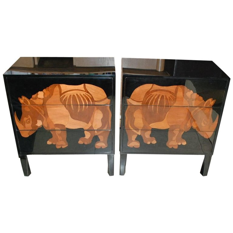 Pair-of-Lacquered-and-Wood-Inlay-Rhino-Design-Chest-of-Drawers.