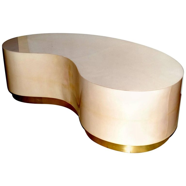 Parchment Kidney Shape Coffee Table with Brass Detail