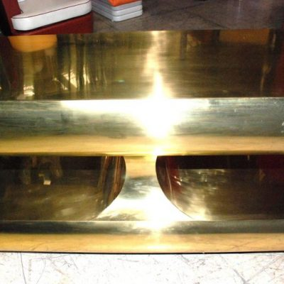 Two Tiers Brass and Mahogany Bar or Console Table2