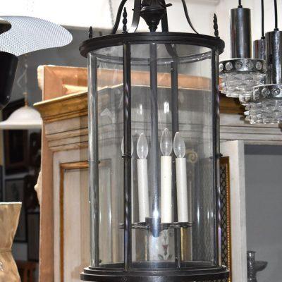 Georgian Style Cast Iron Cylinder Hanging Glass Lantern Pendant